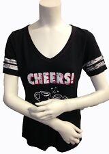 JENNI Womens Black Cheers Short Sleeve Distressed T-Shirt Small NWT