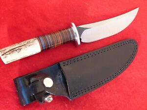 "John Greco USA mint 11"" overall stag/aluminum/leather Fixed Blade mint Knife"