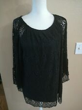 Avenue Black Lace Shirt Blouse Size 18/20 Z6