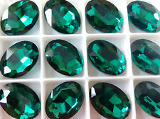 18mm x 25mm  Faceted Oval Glass  Chaton Crystals  Fancy  Cabochons Emerald 1pcs