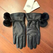 New UGG Australia Black Leather Pom Pom Women Gloves Size M