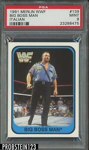 1991 Merlin WWF Wrestling Italian #139 Big Boss Man PSA 9 MINT