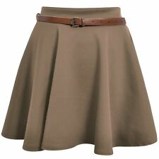 New Women Ladies Belted Skater Flared Jersey Plain Mini Party Dress Skirt 8-14