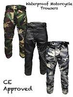 Black Grey Green Camo CE Armoured Motorbike Waterproof Motorcycle Trousers Pants