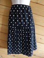 Women Size S M Black Polka Dot Waistband Pleated Knee Length Skirt Polyester