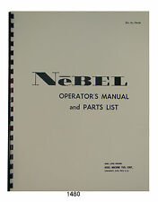 Nebel Rahn-Larmon Lathe Operator & Parts Manual #1480