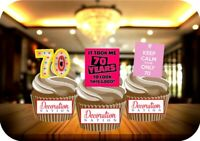 70th Birthday Pink Funny Mix 12 Edible STANDUP Cake Topper Decoration Party Fun