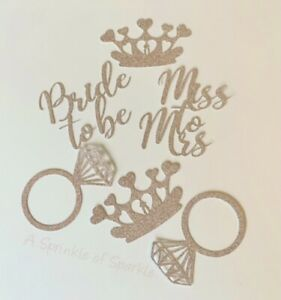 6 HEN PARTY MISS TO MRS BRIDE TO BE CUPCAKE TOPPERS GLITTER CAKE TOPPER