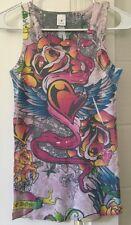 Juniors Medium Ribbed Tank Top SUPER CUTE Winged Heart Rose Tattoo Graphic Art
