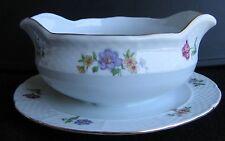Vtg Europa Bouquet Fine Porcelain Gravy Boat and Plate