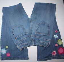 Gymboree Smart and Sweet Blue Jeans Boot Cut Denim Pants 10 Girls Flower EUC BTS