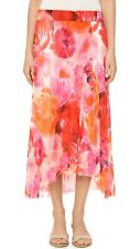 Fuzzi Floral High-Low Midi Skirt Pink Orange Printed Mesh Geranium XS Shopbop