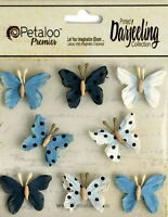 BUTTERFLY Mix BLUE Printed 8 Teastained Paper  20-25mm Darjeeling Petaloo Ver