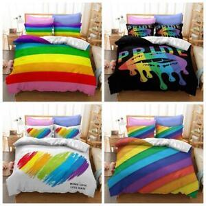 LGBT Quilt Duvet Cover Bedding Set Single Double King Size Lesbian Rainbow 2/3Pc