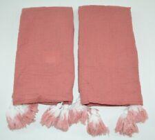 Set of 2 Opalhouse Cotton Gauze Standard Pillow Shams Rose Pink Ombre Tassels