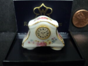 DOLLHOUSE MANTLE CLOCK- PORCELAIN/ FLORAL
