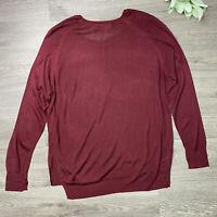 Zara Knit Top Sweater Women's Size Large Burgundy High low Lightweight