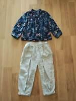 Little Junior Girl 4 5 6 Long Sleeve Blouse Pant Set Blue Flower Grey