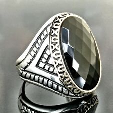 925 Sterling Silver Mens Ring Black Onyx Turkish Handmade jewelry size 11