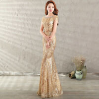 Women's Sequins Floral Fishtail Long Dress Back Strap Cocktail Evening Ball Gown