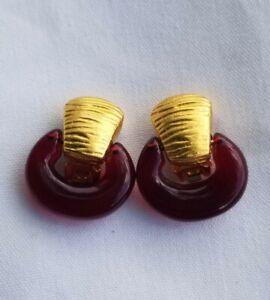"""Vintage Designer """"GIVENCHY"""" goldtone red lucite dangle hoop clip Earrings"""