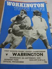 06/09/1978 Rugby League Programme: Workington Town v Warrington (light fold)