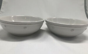 """Set of 2 Juliska Berry and Thread Coupe Bowls Whitewash Cereal/Soup/Snack 6"""""""