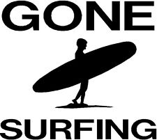 gone surfing vinyl car van surf board laptop door wall art sticker fun waves vw