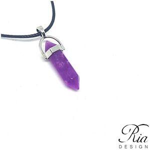 Natural Quartz Chakra Crystal Healing Point Cut Gemstone Pendant Reiki Necklace