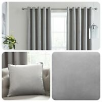 Laurence Llewelyn-Bowen MONTROSE Silver Blackout Velvet Eyelet Curtains Cushions