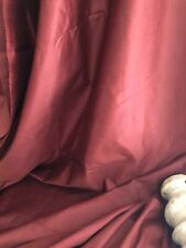 Antique French SATIN cotton CHINTZ BURGUNDY 51 in WIDE UPHOLSTERY c1920