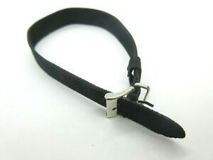 Black Woven Nylon One Piece Watch Strap 10mm and 12mm Gold Silver Buckles