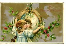 Pretty Little Girl-Mirror Reflection-Merry Christmas Holiday Greeting Postcard