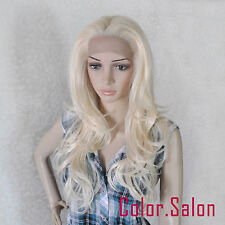 HAND TIED Synthetic LACE FRONT FULL WIGS Blonde Wavy GLUELESS HEAT SAFE 92#613