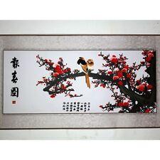 """Stickbild Stoffbild """"Vogel im Pflaumenbaum"""", chinesische Stickerei, Stickkunst"""