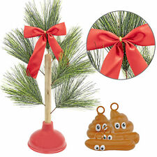 Poop Ornaments & Redneck Plunger Christmas Tree Set Festive Holiday Season Gift