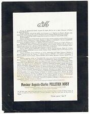 Avis de Décès Auguste Charles Pelletier Doisy - Tué le 31 Aout 1914 à Saulcy