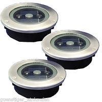3x LED Solar Bodeneinbauleuchte Rund 12cm mit 3 LED Lichtsensor Strahler IP65