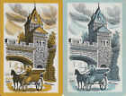 Vintage Swap/Playing Cards-2 SINGLE - HORSE & CARRIAGE ON COBBLED STREET