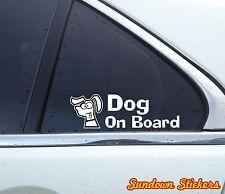 2x 'Dog on board' funny, Silly cute Dog car window / bumper STICKERS