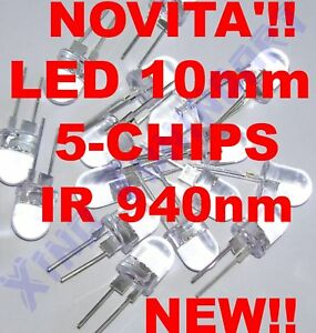 LED Infrared Ir 940nm 10mm 5 Chips 40° 100mA Infrared