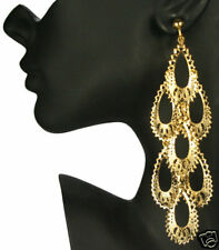 "CLIP ON huge 5""long GOLD PLATED BIG CHANDELIER EARRINGS"