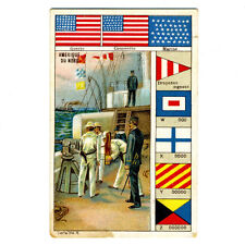 Vintage French Chromolithograph, US Navy, Boat, Flags and Signals