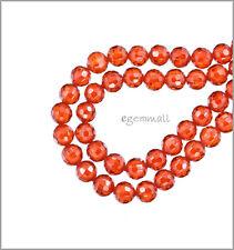16 Cubic Zirconia Round Beads 4mm Orange Red #64749