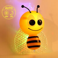 Cute Bee LED Night Light Plug-In Auto Sensor Energy Saving Child Nursery Safety