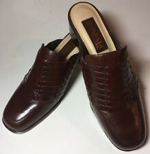 NWOB Ipanema Delta Slip-On Mules Shoes Woven Brown Leather Block Heels Sz 7.5M