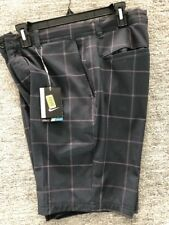 Nike 725700-010 Flat Front Black Gray Print Plaid Golf Shorts $85 New With Tags