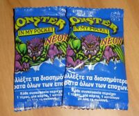 LOT MONSTER IN MY POCKET NEON MIMP SERIES 1 BRAND NEW & SEALED BOOSTER PACK X2