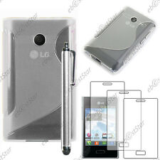 Housse Etui Coque Silicone Transparent LG Optimus L3 E400 + Stylet + 3 Films