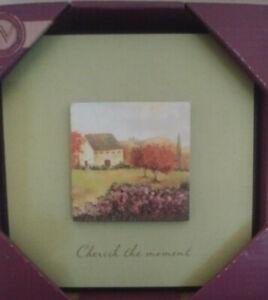 "Inspirational Wall Plaque Mat Layered ""Cherish the Moment"" Cottage Garden NEW"